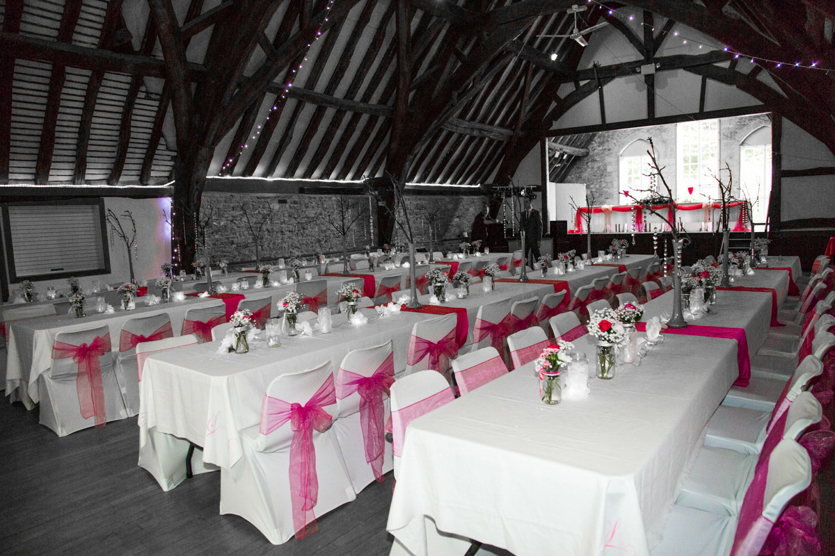 Pink wedding decorations Tithe Barn, Bishops Cleeve.