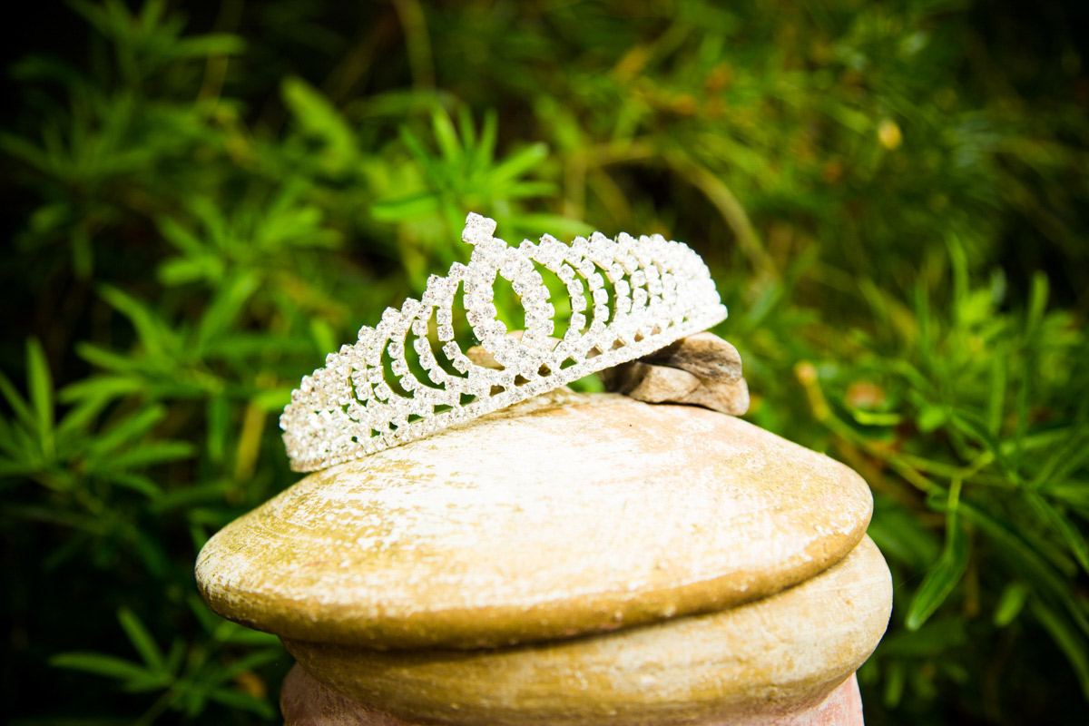 The brides wedding tiara propped up in a garden.