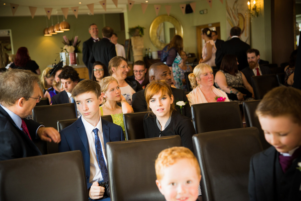 Wedding guests at the Old Lodge in Minchinhampton.