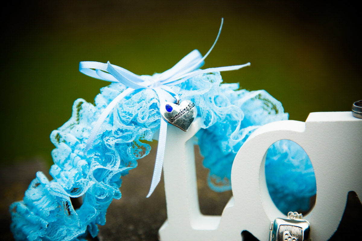 The brides something blue wedding garter.