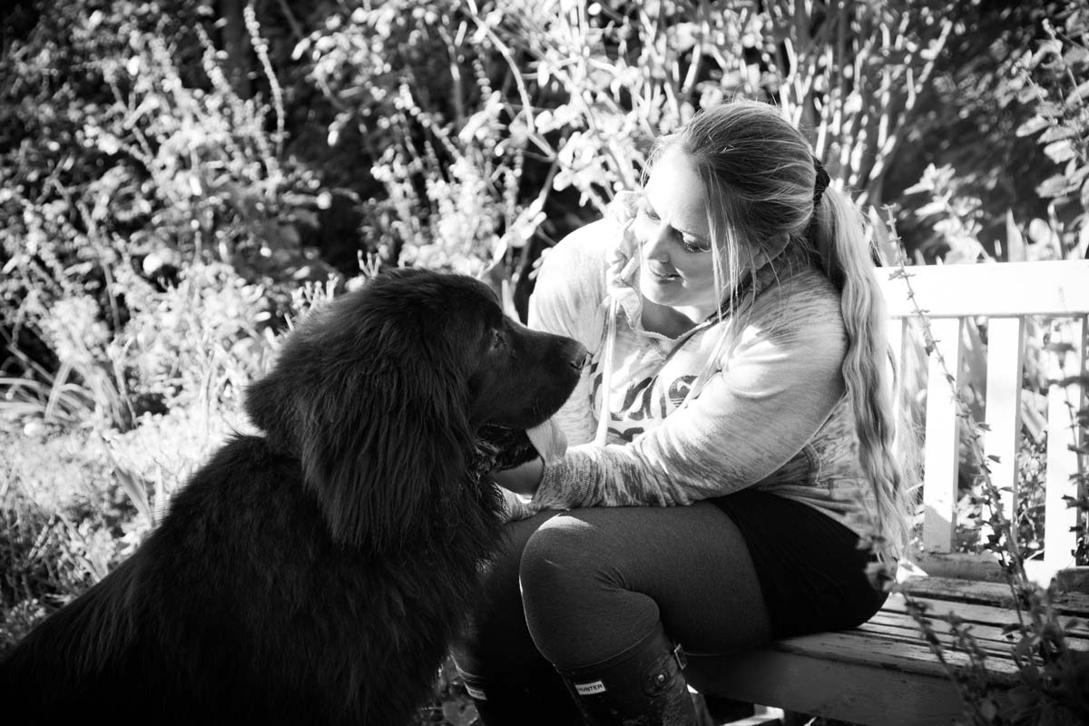 Woman sat on a bench stroking her Newfoundland puppy.