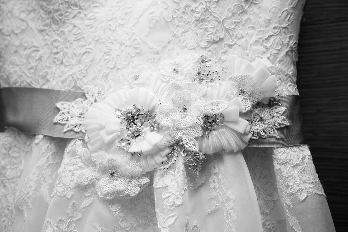 Lace flower detailing on a wedding dress at the Egypt Mill.