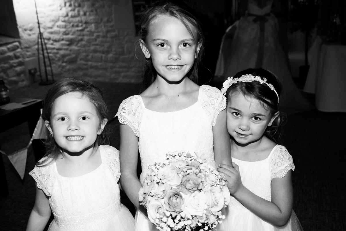 Three flower girls at the Egypt Mill Hotel.