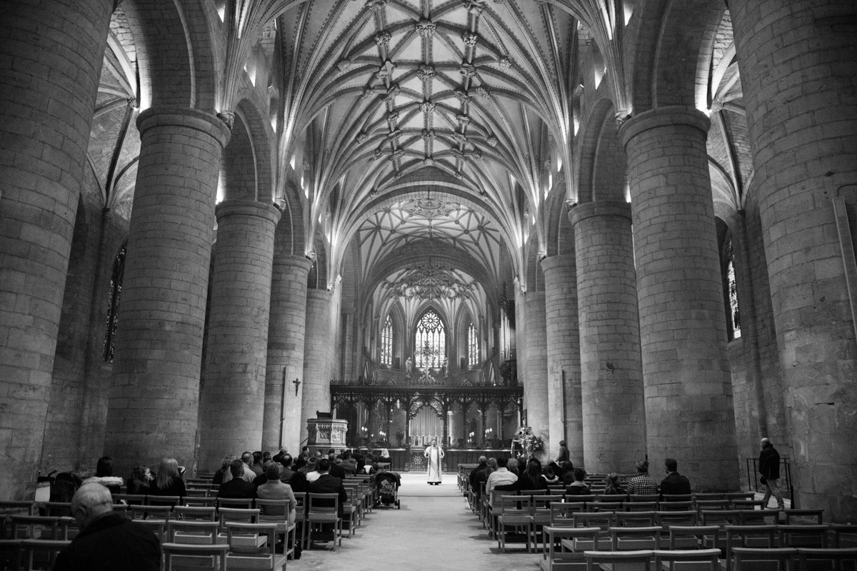 View from the back of Tewkesbury Abbey during a Christening