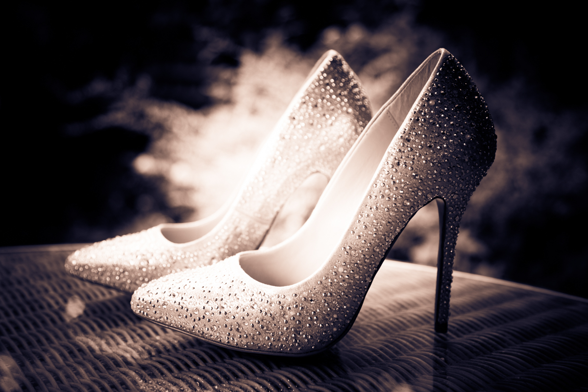 Brides Kurt Geiger wedding shoes for her Hilton Puckrup Hall wedding.