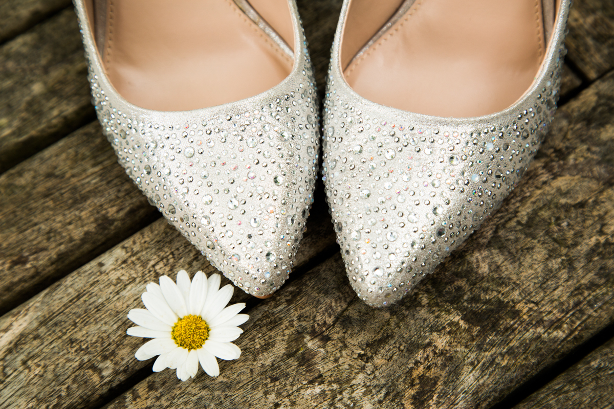 Sparkly Kurt Geiger wedding shoes for Puckrup Hall wedding.