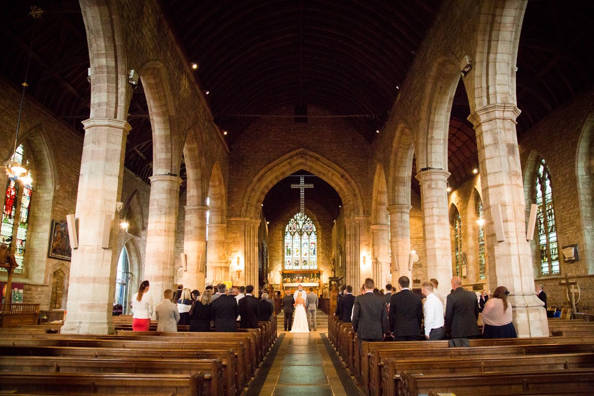 Wedding service at St Michael's Church in Ledbury, Hereford.