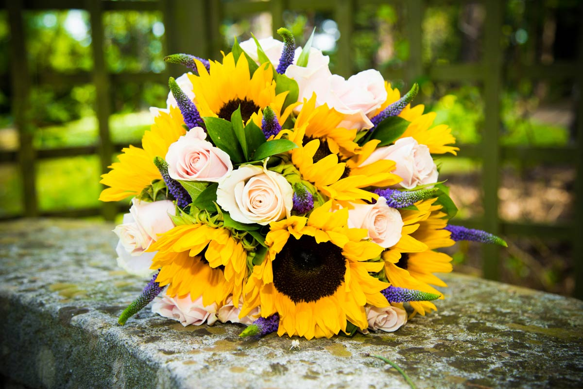 Sunflower wedding bouquet.