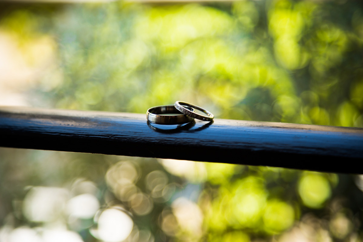 Wedding rings balanced on a rail at the Hatton Court Hotel.