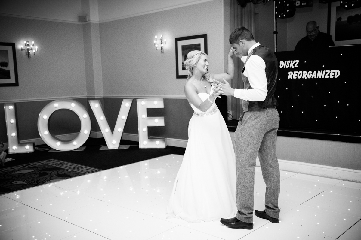 Bride and groom during their first dance at Puckrup Hall.