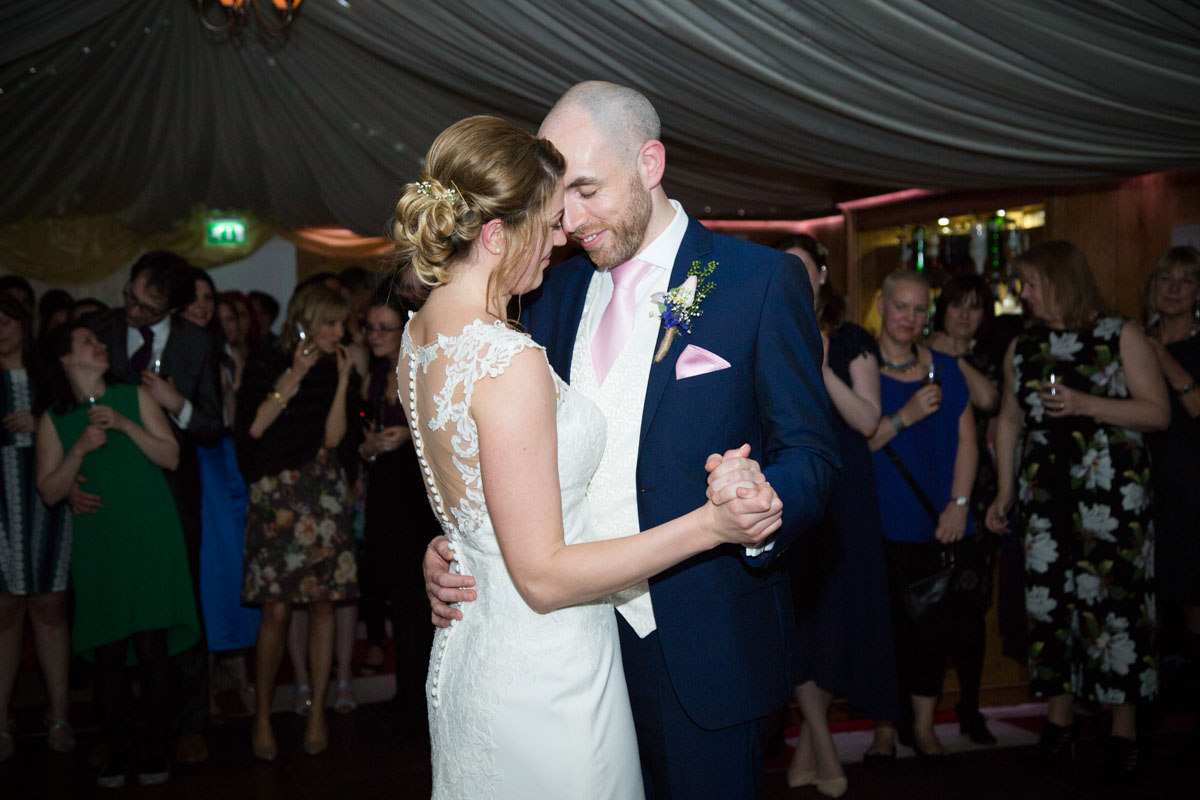 The bride and grooms first dance at the Notley Tythe Barn in Aylesbury.
