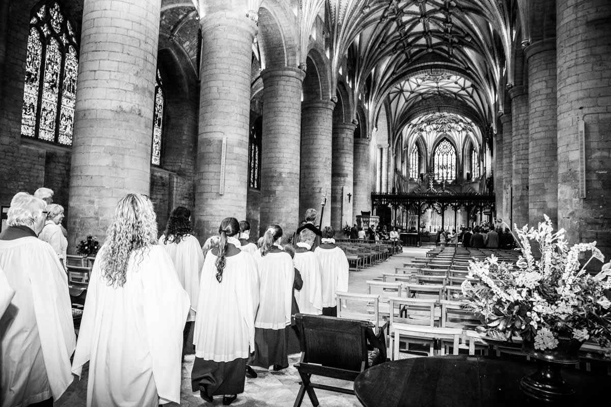 The choir for a Tewkesbury Abbey wedding
