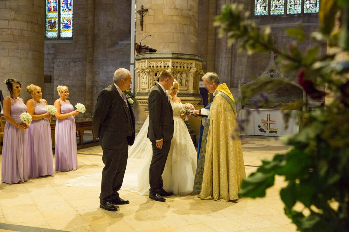 Bride and groom during their Tewkesbury Abbey Wedding.