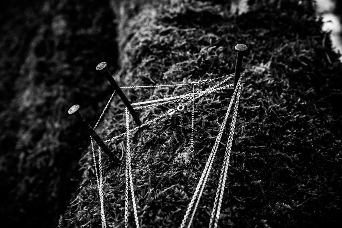 Necklaces hanging over rusty nails in a tree during commercial shoot.