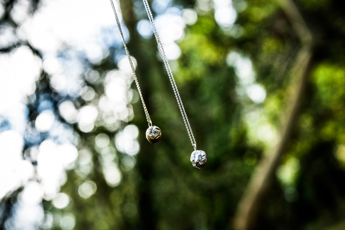 UK jewellery commercial photographer. Woodland necklace shoot.