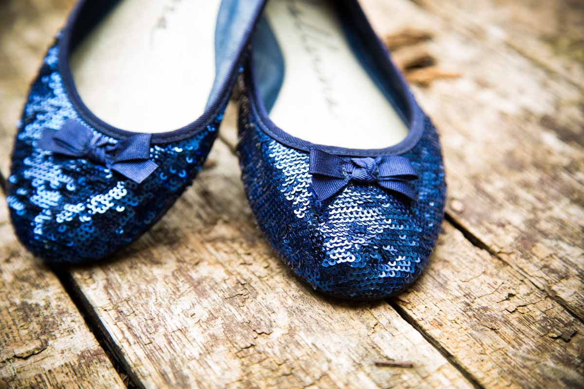 Lennoxtown Wedding Photographer. Glasgow wedding, blue wedding shoes. Blue sequin shoes.