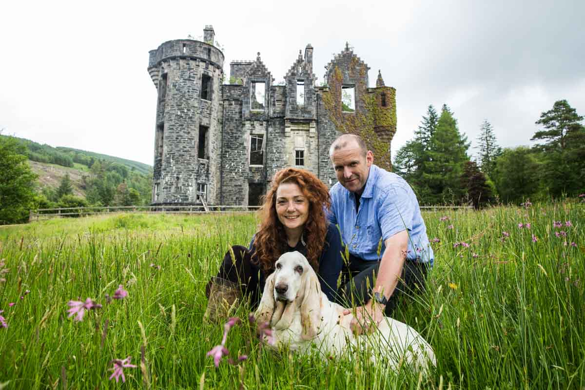 Dunans Castle photographer. Dunans Castle owners Charles and Sadie.