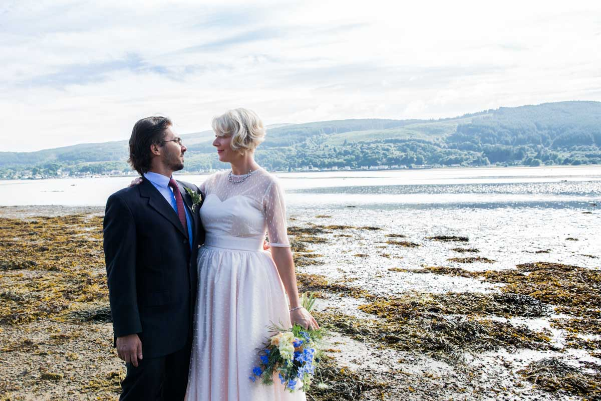 Wedding on the shores of Holy Loch. Old Kilmun House wedding. Dunoon wedding photographer. Glasgow wedding photography