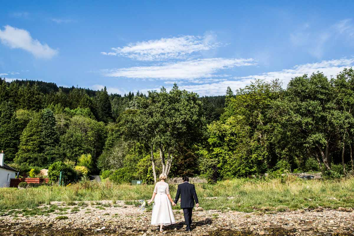 Bride and groom at Old Kilmun House wedding. Wedding photographer dunoon