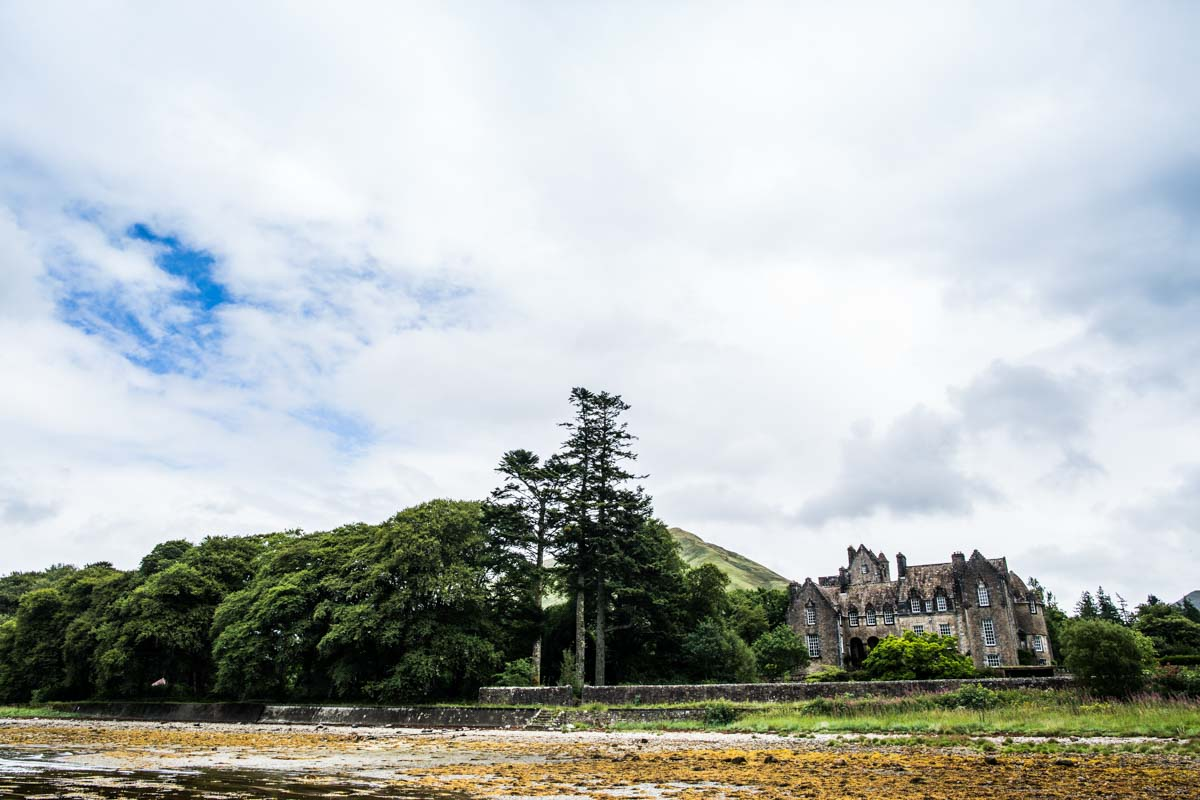 Ardkinglas wedding photographer. View of Ardkinglas from Loch Fyne beach. Glasgow wedding photographer