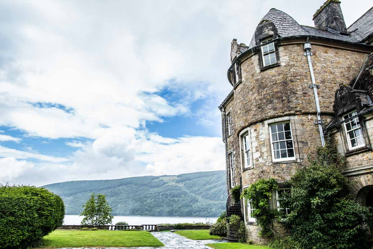 Ardkinglas wedding photographer. Loch Fyne view from the house. Glasgow wedding photographer
