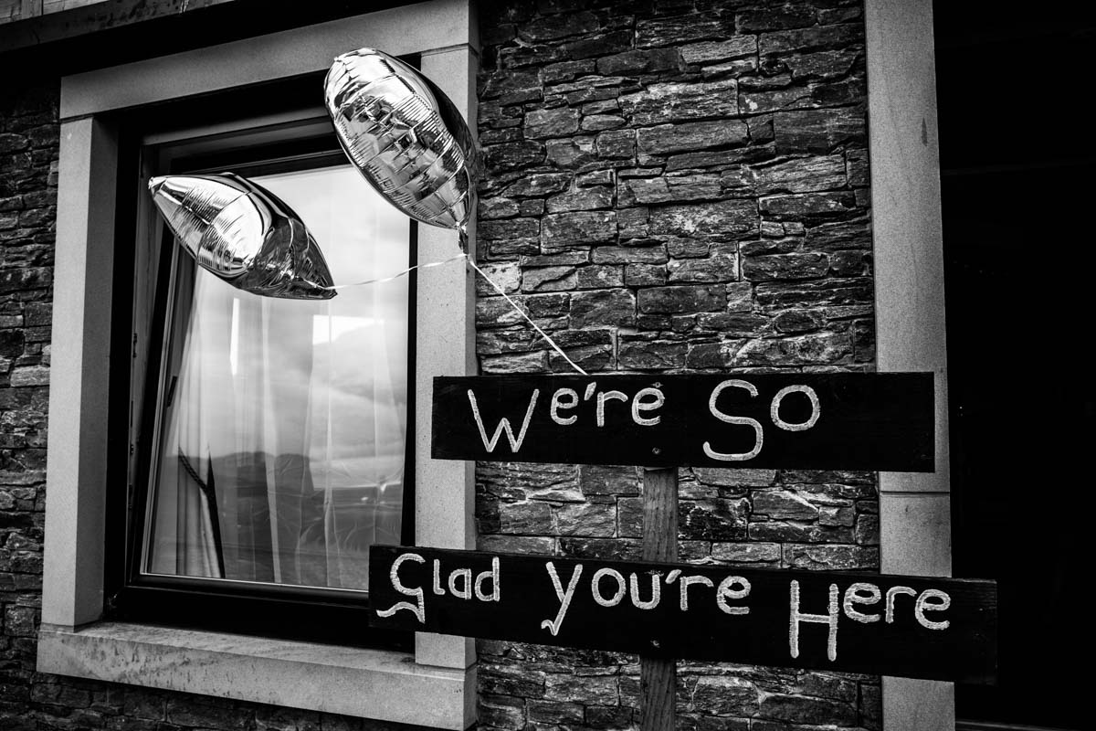 Wedding sign and balloons at Carrick Castle Estate. Loch Goil wedding photographer