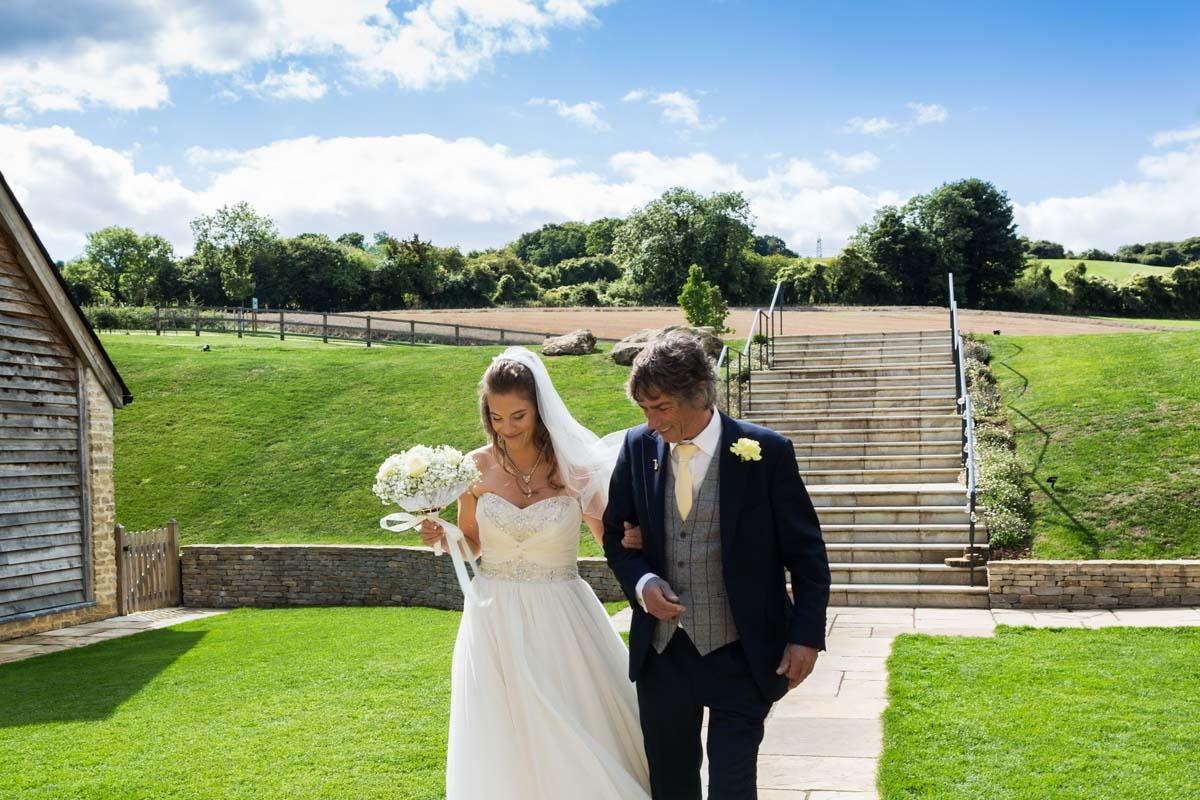 The brides entrance at Upcote Barn wedding.