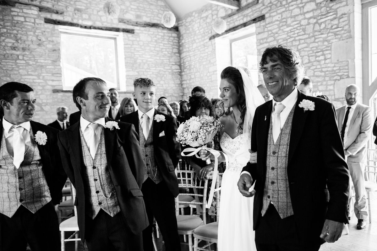 When the groom sees the bride. Upcote Barn wedding.
