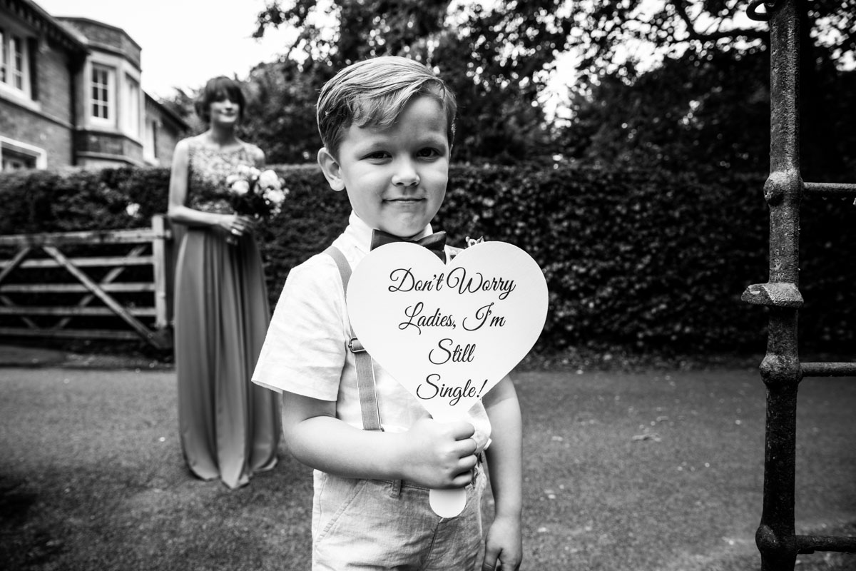 Cute wedding sign ideas. Page boy sign. Wedding photographer Glasgow. Cornhill castle