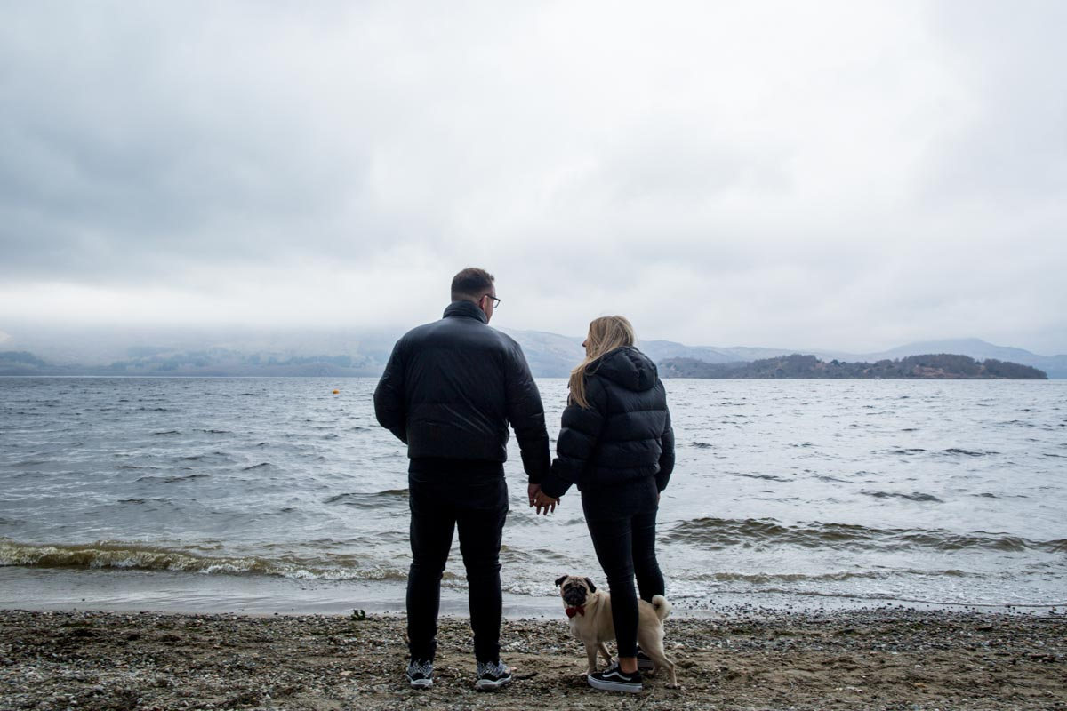 Engagement photoshoot on Luss Beach at Loch Lomond