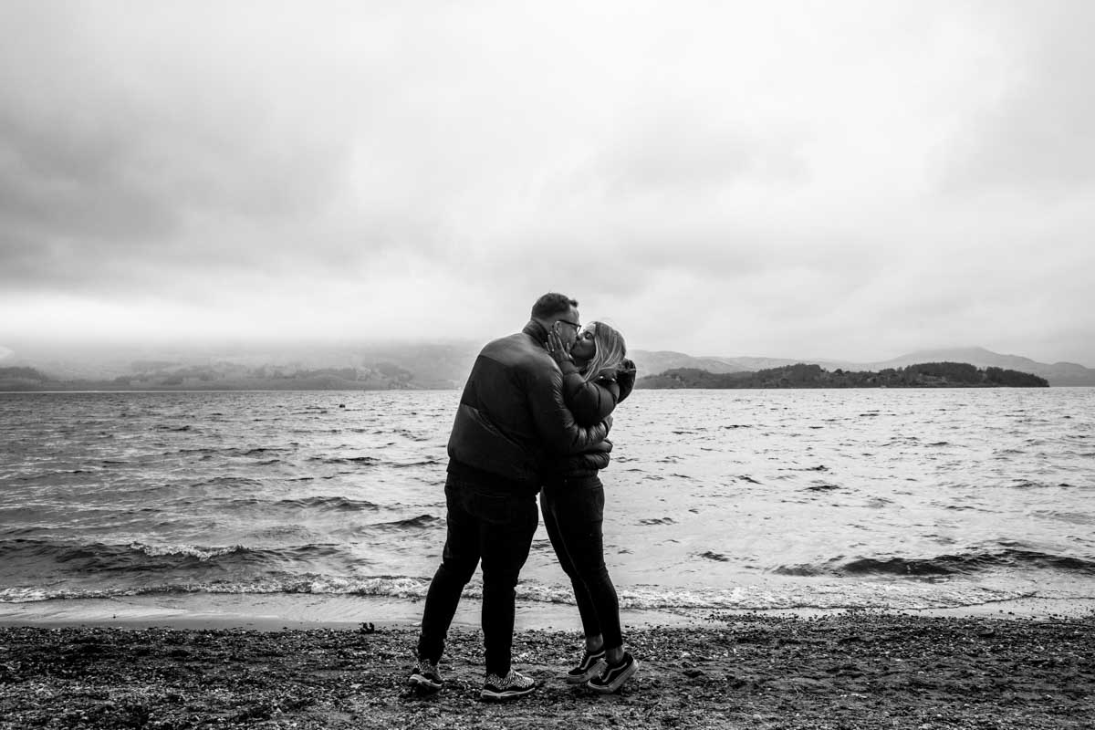 Loch Lomond engagement photographer on Luss Beach