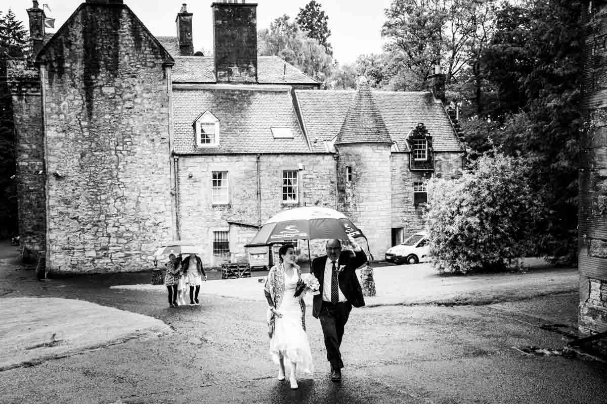Bride and father of the bride at Culcreuch Castle Wedding