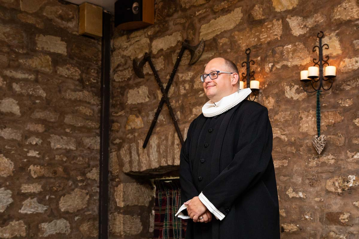 Priest at Culcreuch Castle wedding