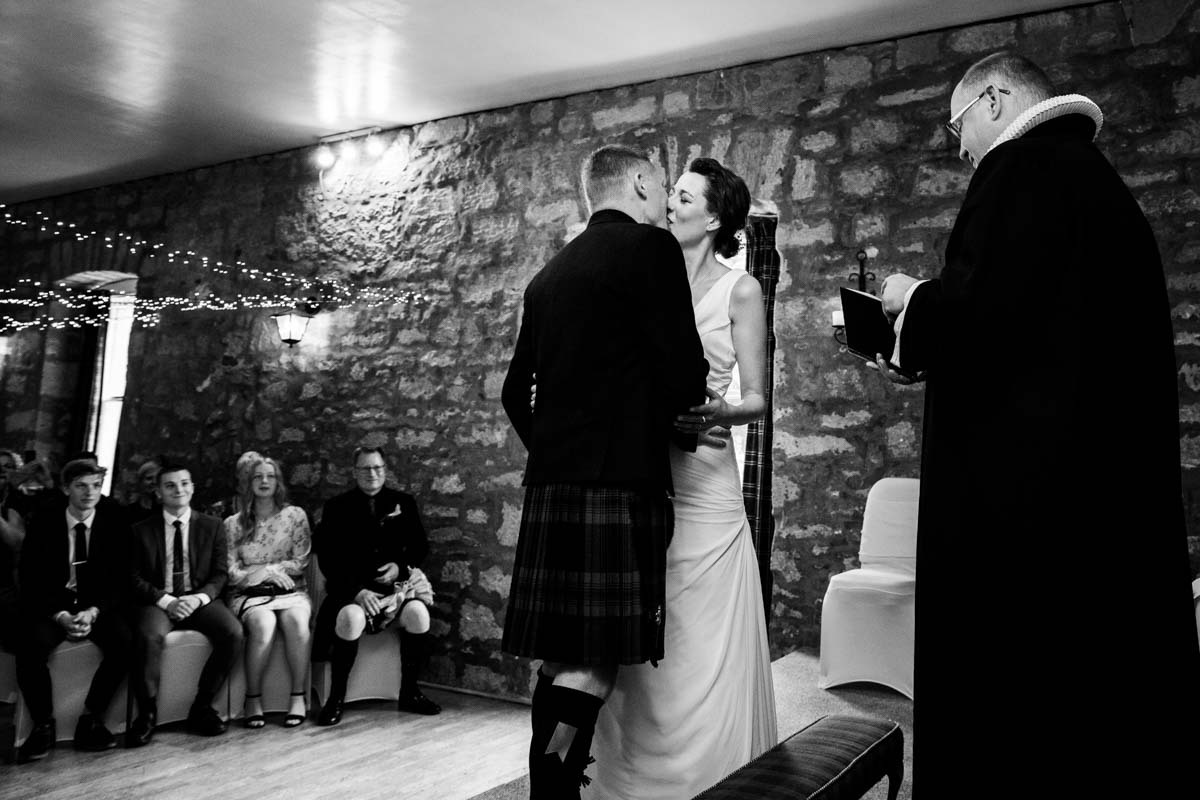 The first kiss as man and wife at Culcreuch Castle
